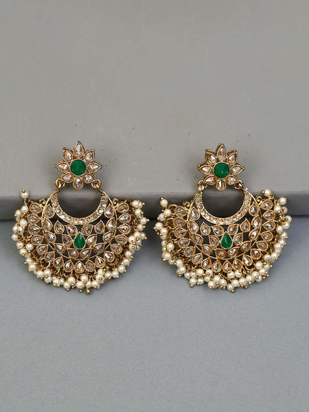 Emerald Barkha Designer Earrings
