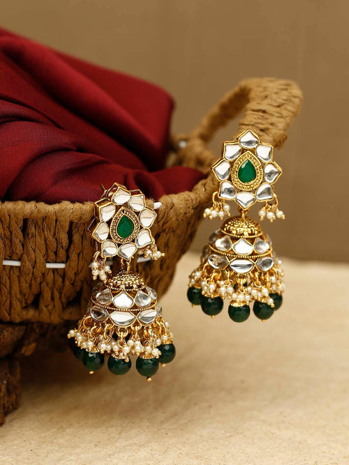 Emerald Nalini Kundan Earrings