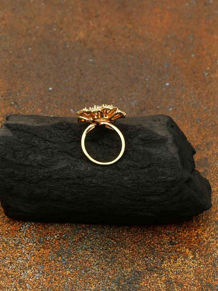 Golden Lotus Zirconia Ring