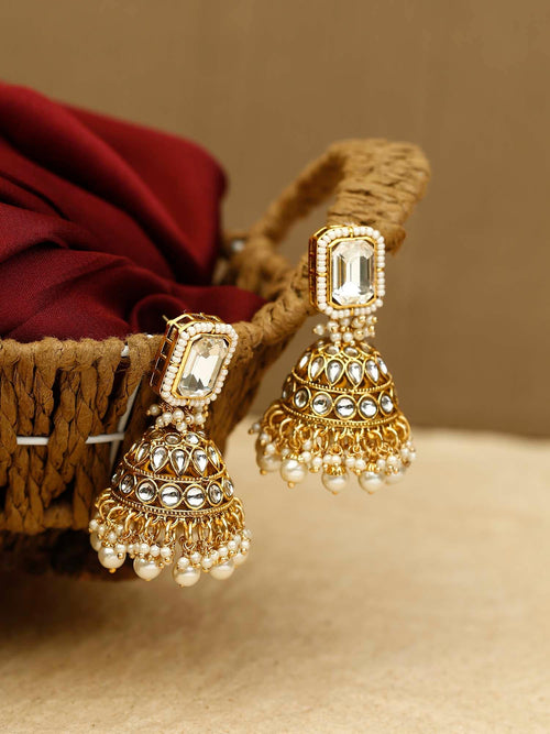 Golden Jivantika Designer Earrings