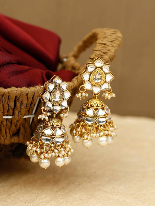 Golden Nalini Kundan Earrings
