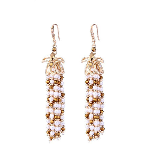 Golden Pearl Tassel Earrings - Golden Beads Pearl Earrings - Bling Bag