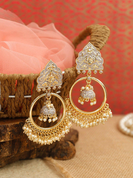 Grey Hoop Jhumki Earrings