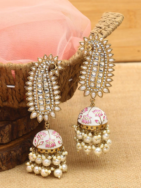 Ruby Loukya Gold Plated Temple Earrings