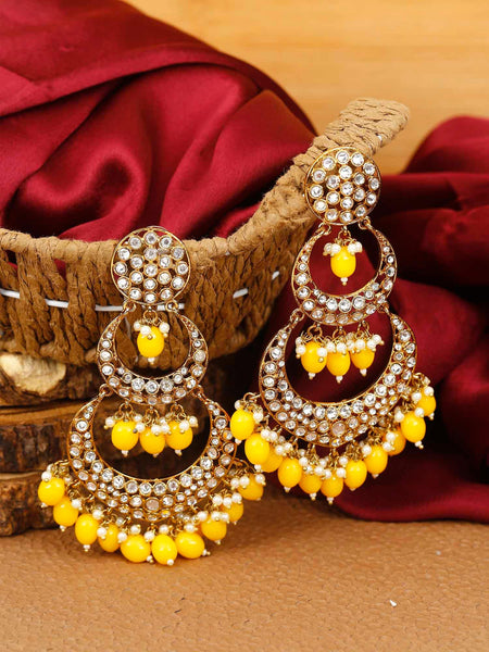 Lemon Layered Chaandbali Earrings