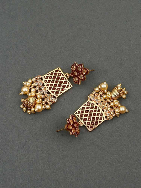 Maroon Aayat Jhumki Earrings