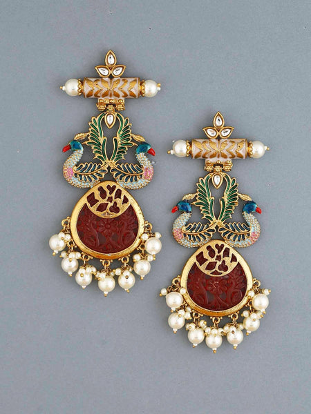 Maroon Hiron Designer Earrings