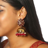 Maroon Bubble Designer Ethnic Earrings - Bling Bag