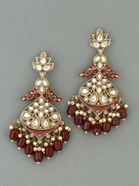 Maroon Urvashi Designer Earrings