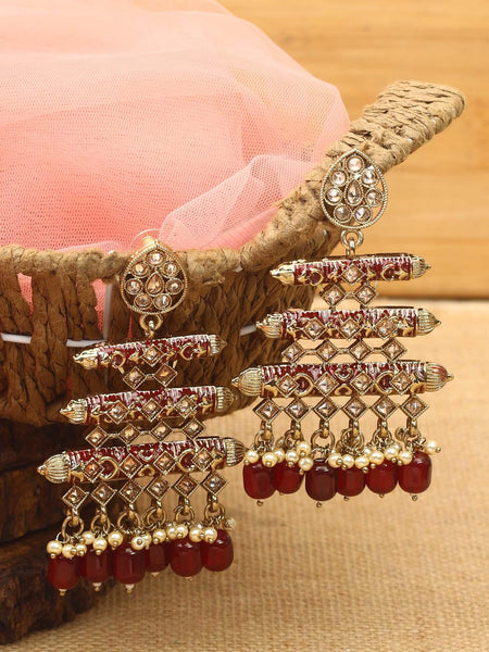 Maroon Dolly Designer Mini Jhumki