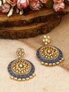Navy Sameera Kundan Earrings