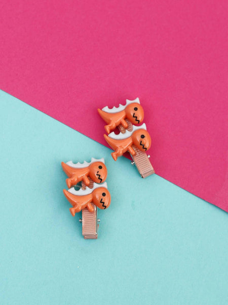 Brown Dinosaur Hair Pins