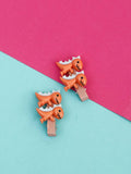 Orange Dinosaur Hair Pins