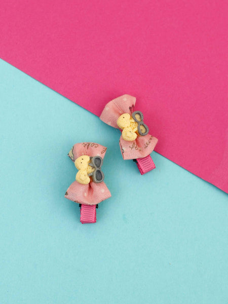 Beige Button Bow Hair Pins