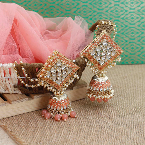 Peach Kanha Kundan Earrings