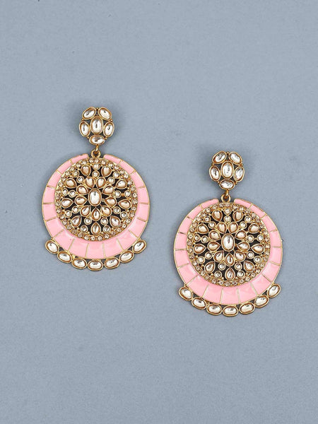 Pink Sameera Kundan Earrings