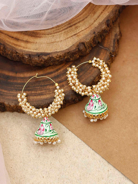 Pistachio Daljit Designer Chandbali Earrings