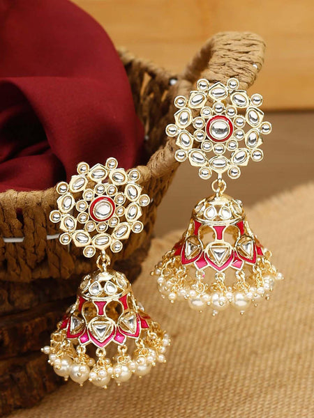 Ruby Pournima Gold Plated Temple Earrings