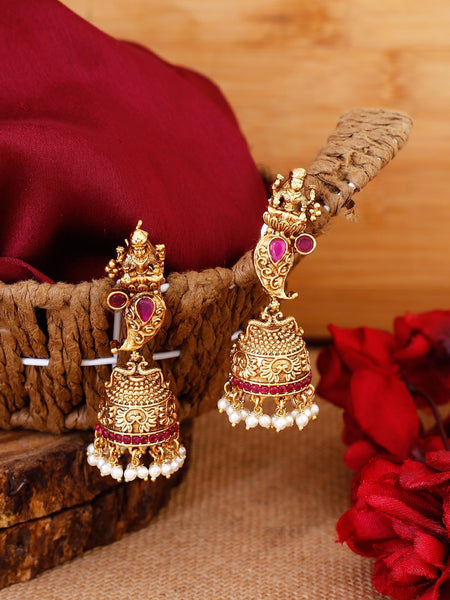 Ruby Karuna Gold Plated Temple Earrings
