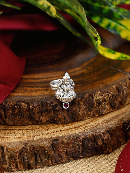 Red Ganesh Oxidised Adjustable Ring