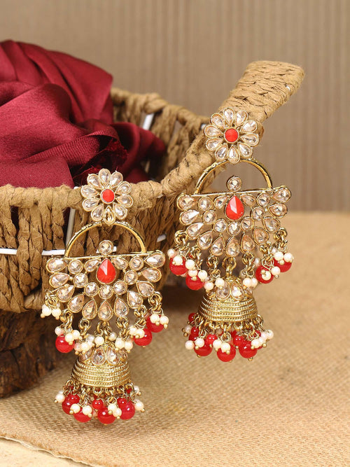 Ruby Semicircle Jhumki Earrings