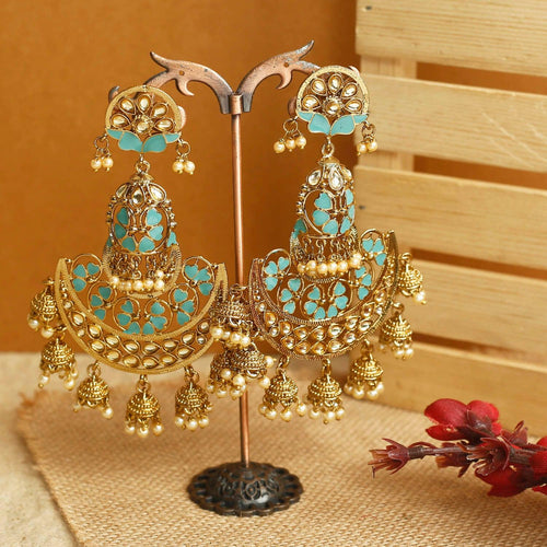 Teal Gharara Designer Earrings
