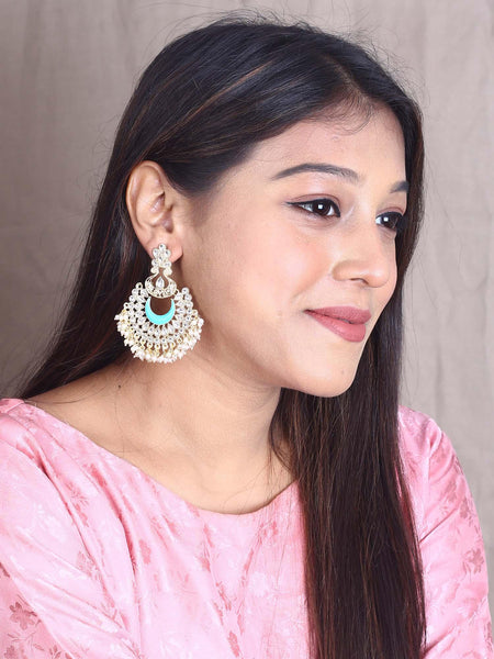Turquoise Chandrachakra Designer Earrings