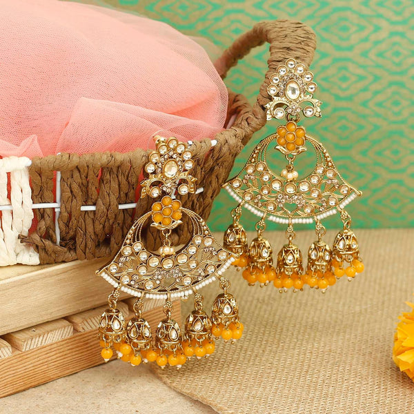 Yellow Bella Jhumki Earrings