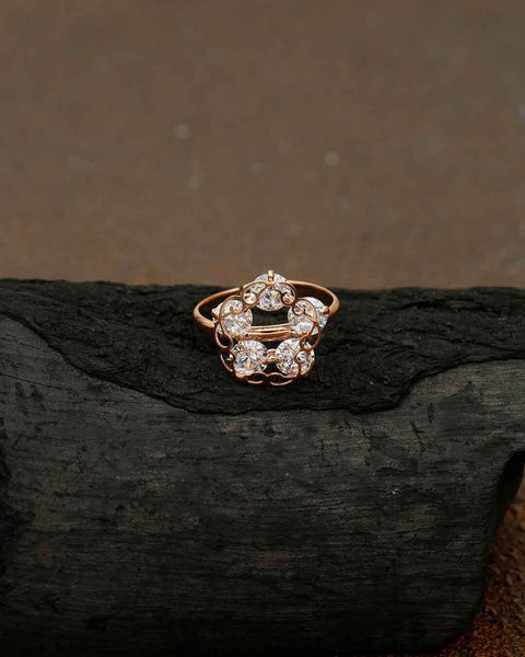 Rose Gold Kusum Adjustable Zirconia Ring