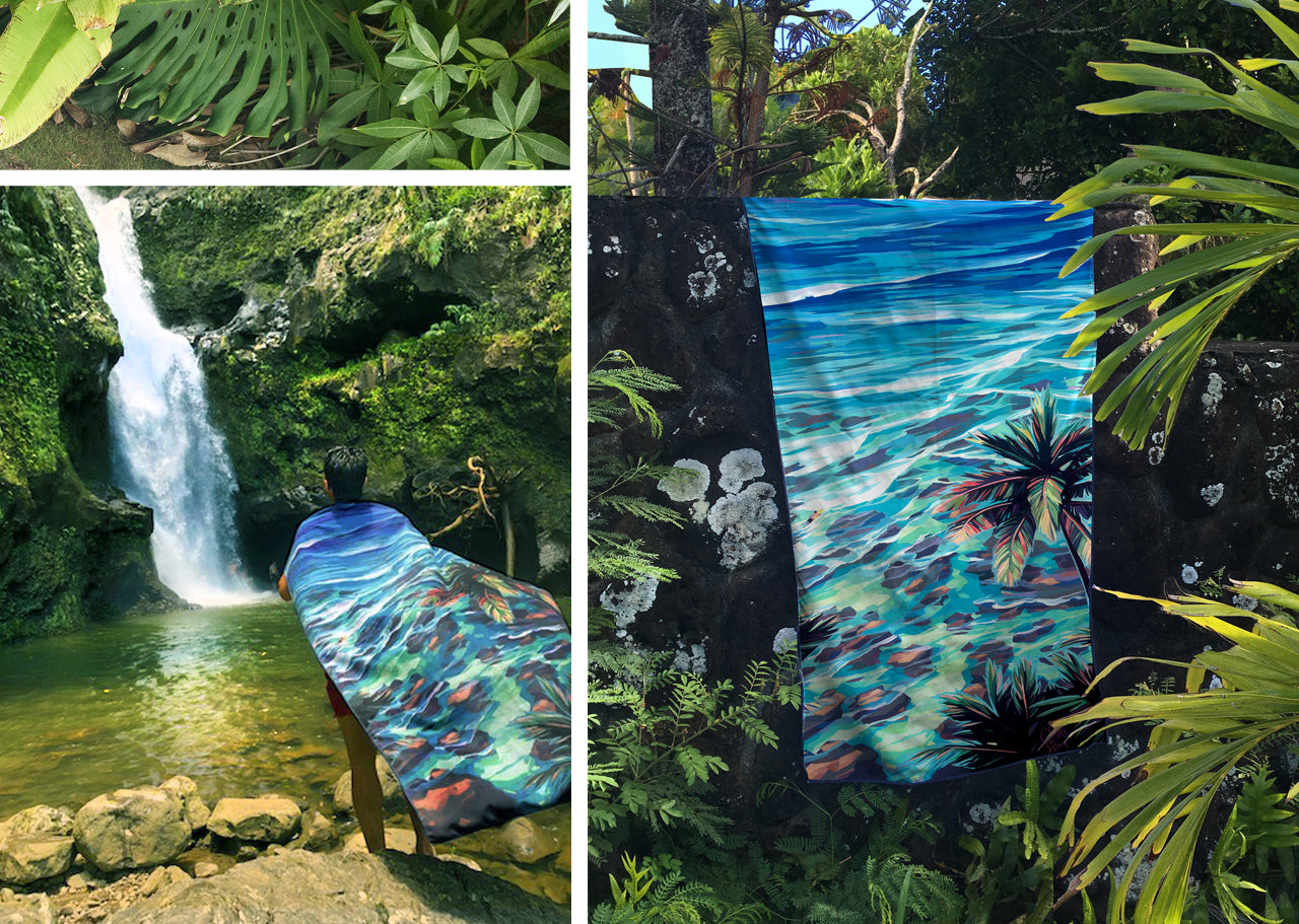 King Kamehameha day surfer towel cape waterfall brian wyland hawaii