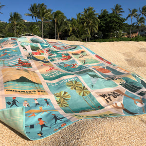The Destination Towel is vintage chic and the best beach accessory! Fast drying, easy to travel with, and totally stylish to match any vibe!