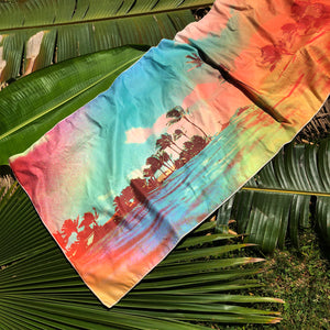 TROPICS surfer towel on palm leaves by Matthew Allen - Double sided, quick drying and made from eco friendly material!