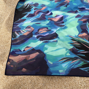 Low tide is the best time for laying out on the beach with a new Surfer Towel! Quick drying, eco friendly, with a gorgeous double sided print!