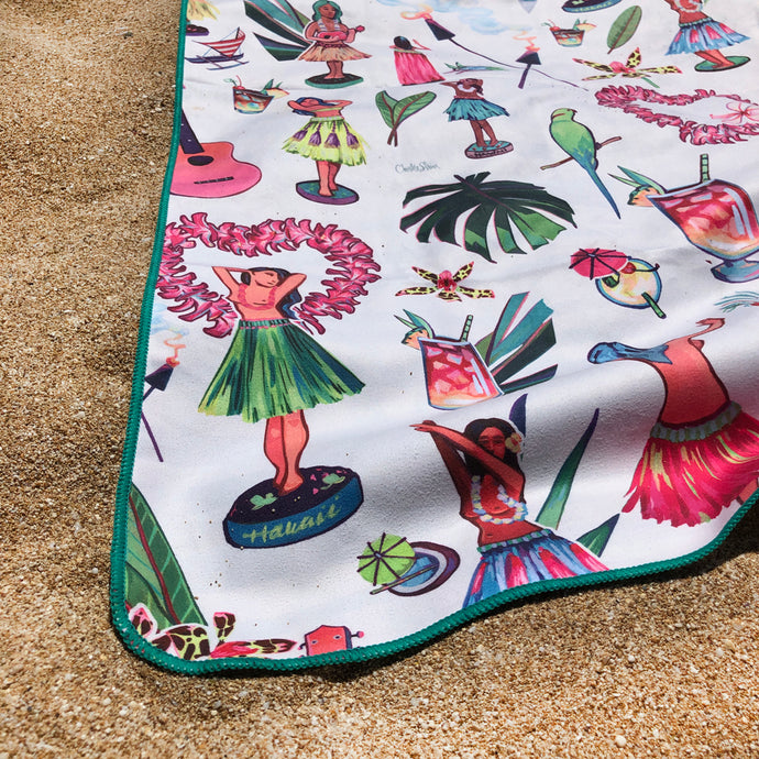 Hula by Christie Shinn - a perfect beach accessory or present! Double sided, quick drying, and designed here in Hawaii!