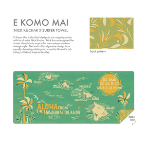 E Komo Mai by NICK KUCHAR is a a must have beach accessory - quick drying, double sided print, and super compact!