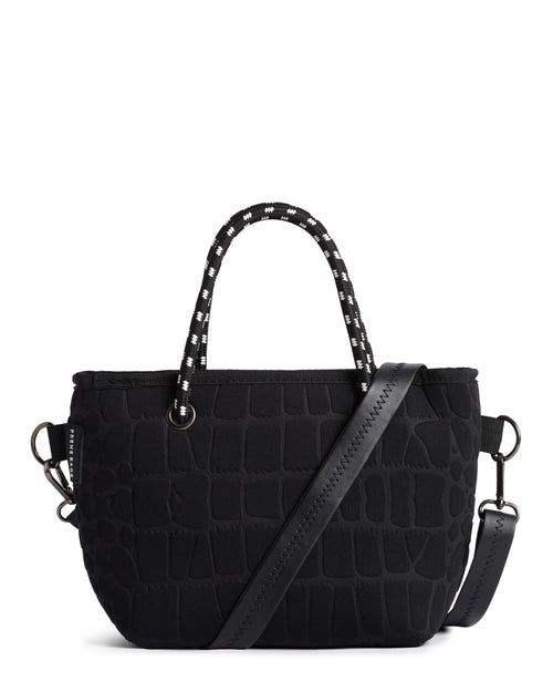 **SALE** THE BAM BAM BAG (BLACK CROC) NEOPRENE CROSSBODY / HAND BAG