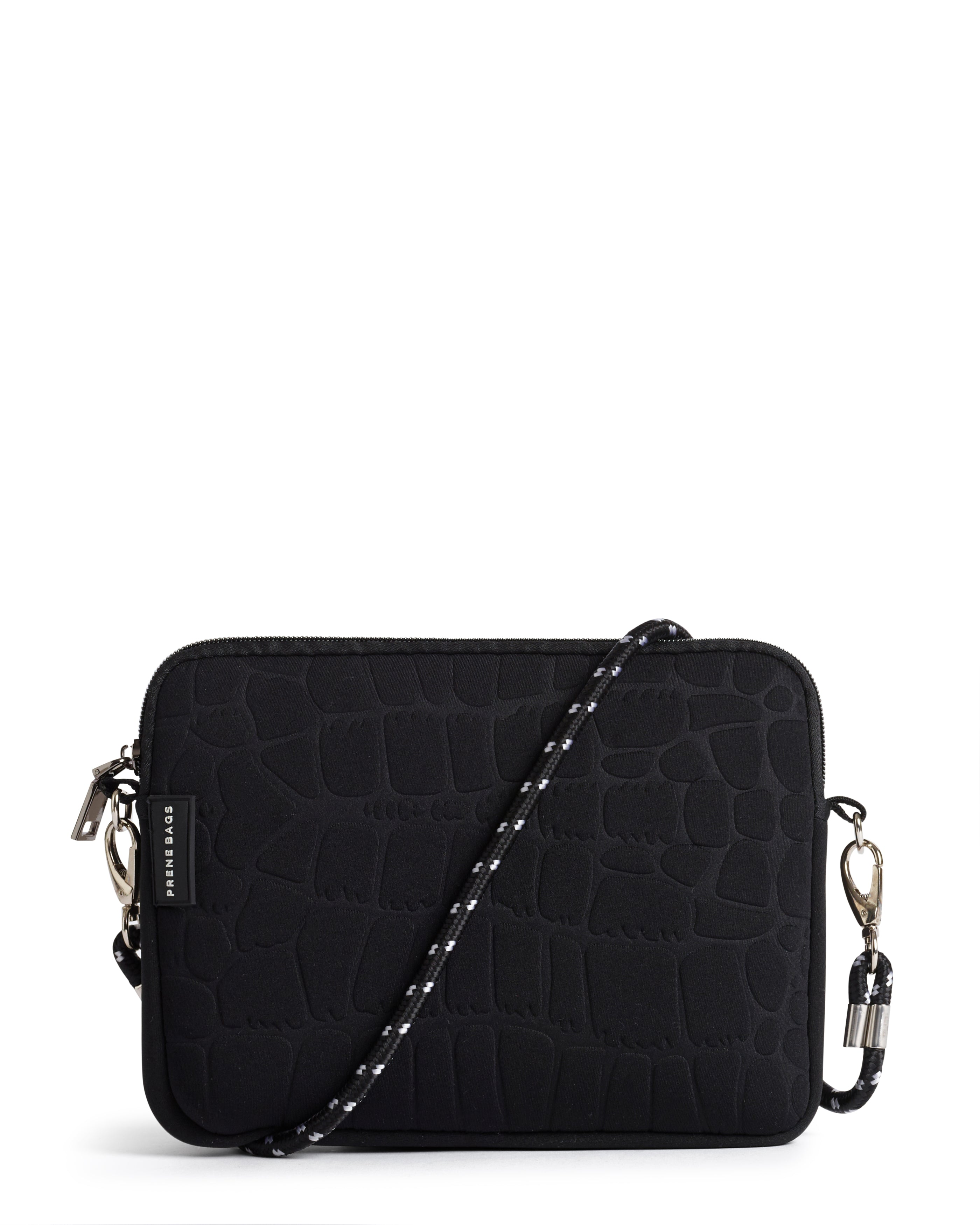 THE WILD PIXIE BAG (BLACK CROC) NEOPRENE CROSS BODY