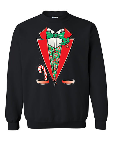 Ugly Christmas Sweater Tuxedo Christmas Costume, Christmas Gift Funny Christmas Crewneck Sweater