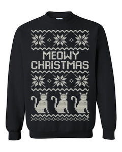 Meowy Christmas Ugly Christmas Seater Christmas Sweatshirt gift Crewneck Sweater