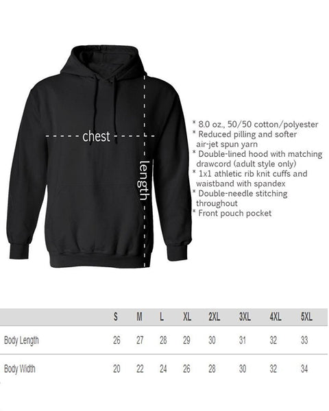 Buta Clothing Hoodies Size Chart