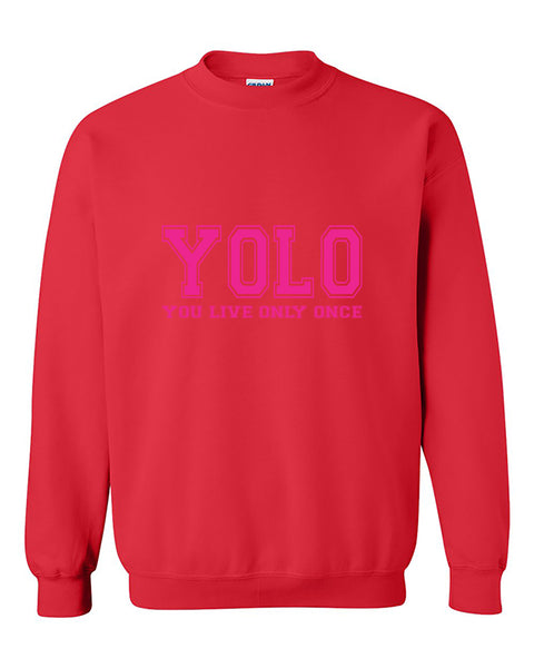 You Only Live Once, YOLO Pink Cute, Fashion, Funny Crewneck Sweater