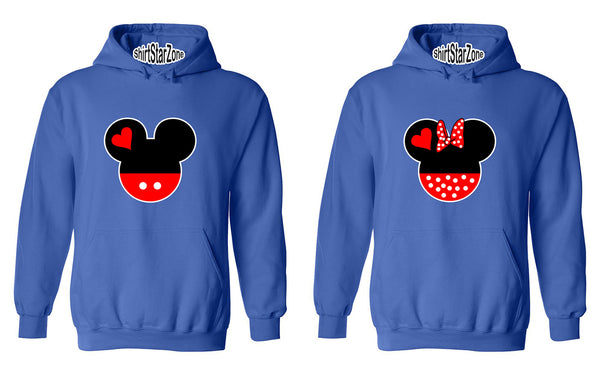 Cartoon Character Head His and Her Couples Unisex Hoodies
