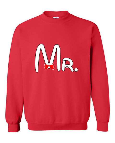 Cartoon Writing Mr Matchig Couples Crewneck Sweater