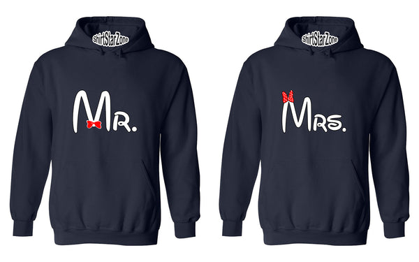 Cartoon Writing Mr and Mrs Matchig Couples Unisex Hoodies