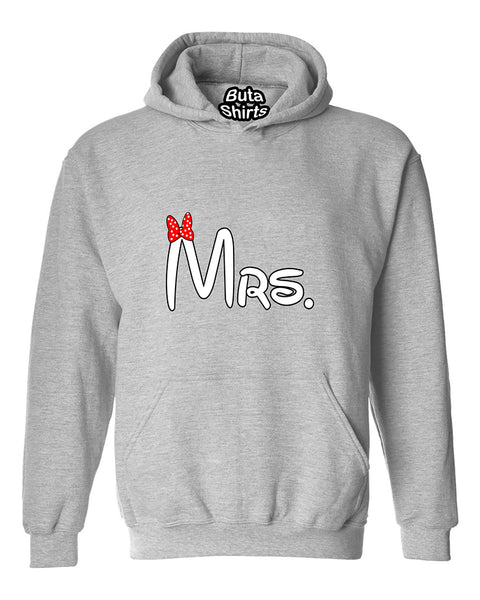 Cartoon Writing Mrs Matchig Couples Unisex Hoodie