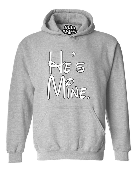 Cartoon Writing He's Mine Couples Matching loves Unisex Hoodie