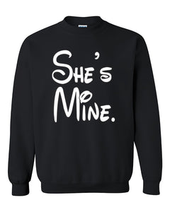 Cartoon Writing She's Mine Couples Matching loves Crewneck Sweater