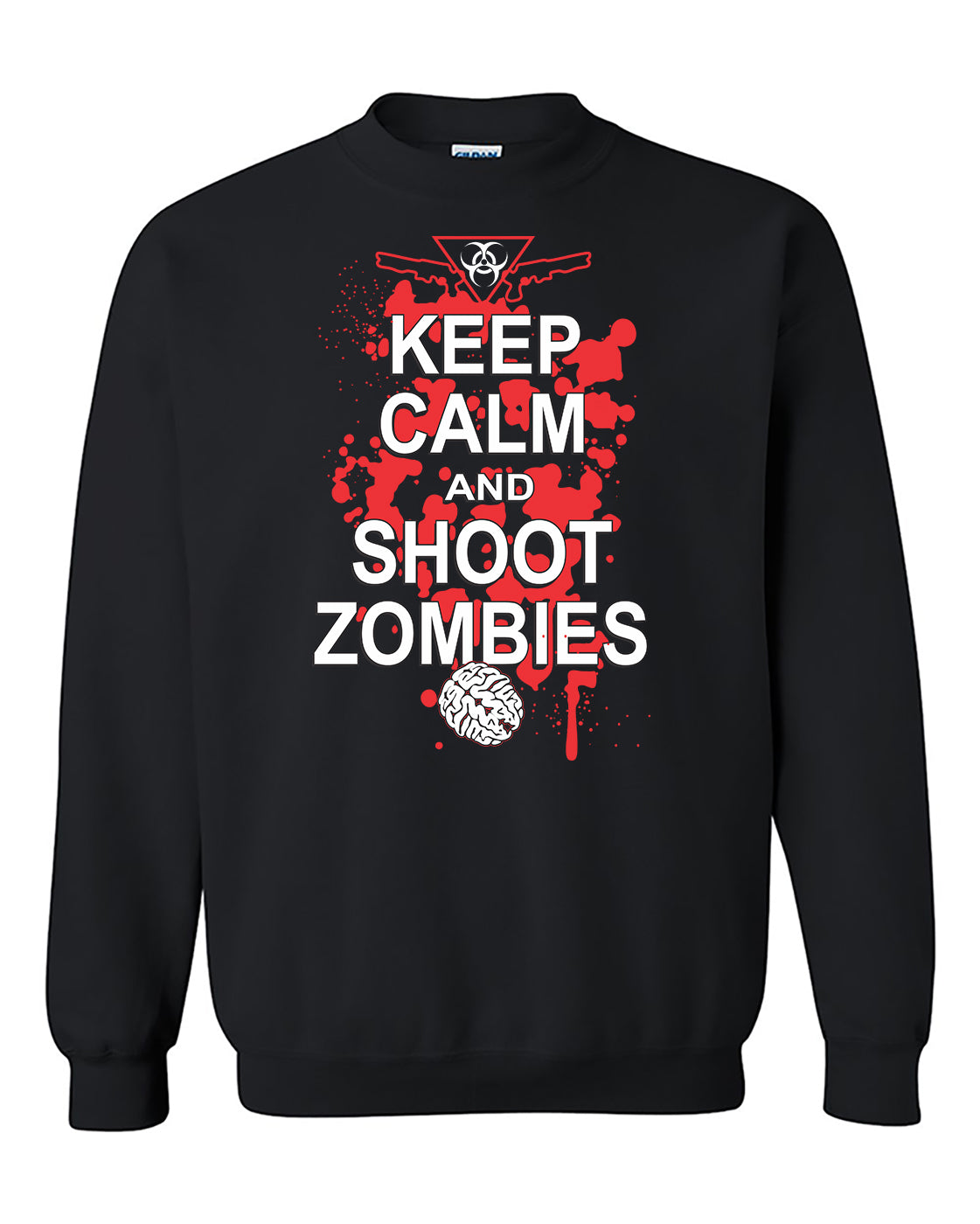 Keep Calm And Shoot Zombies Killer Funny Fashion Crewneck Sweater