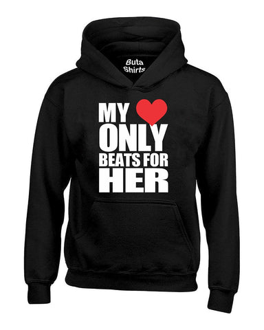 My Heart Only Beats for Her Couples Valentine's Day Gift Unisex Hoodie