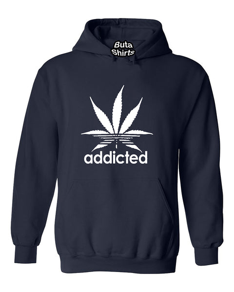 Addicted Marijuana Pot Leaf 420 Weed Stoned Parody Unisex Hoodie